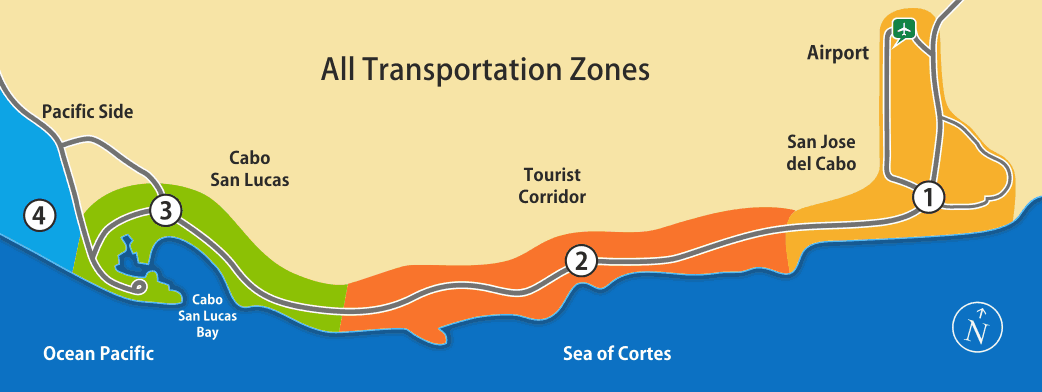 All transportation zones in Los Cabos area